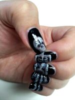 Skeleton Nail Art by aniapaluch