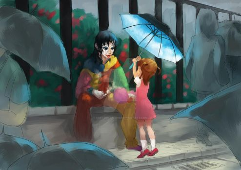 Clown in the Rain-50% color by dreamplan2010