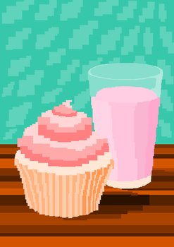 A vanilla cupcake and strawberry milk. by moonringblue