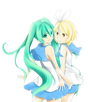 Miku and Rin by chocolatekimikki