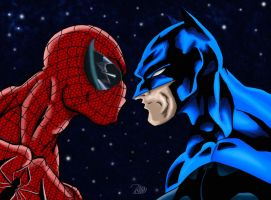 Spiderman Versus Batman by James Lee Stone Colored by NewEraStudios