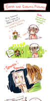 EARTH AND SATURN'S PICTURES by Cioccolatodorima