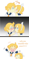 Kagamine twins first kiss by Kari-Usagi