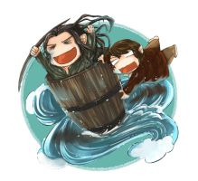 The Hobbit: Barrel Ride by caylren