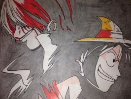 luffy and shanks by edvardstas