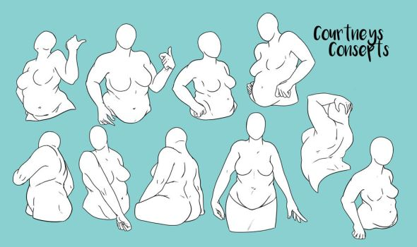Female Torso Poses by CourtneysConcepts