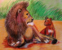 Lion and cub by philippeL