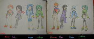 The Elemental Trio plus Noir Before and After by HIDDENloid-EXE