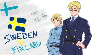 Sweden and Finland Wallpaper WITH THE FISH!!!!!!!! by inuyashazeldaeragon