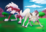 Lycanroc sun and moon by Pachi-Mapache