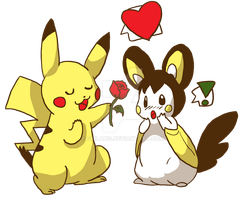 Pikachu and Emonga by girlANG