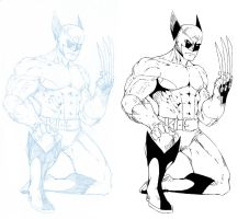 Wolverine pencil and pen by NathanKroll
