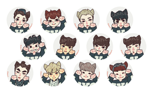 exo catboy buttons by genicecream
