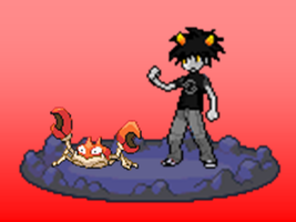 pokestuck sprite- Karkat as a pokemon trainer by Rotommowtom