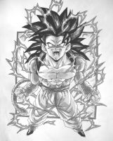 Dragonball GT  Black and White Goku SS4 V1 by TriiGuN
