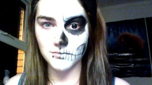 Skeleton makeup Half n Half by Randomshadowmusic