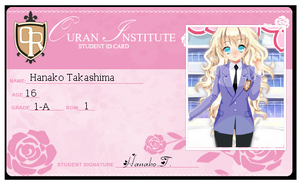 Ouran OC: HanakoIDCard by Jusace