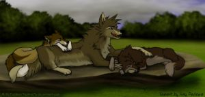 Colored Lineart- Three Wolves by Tephra76