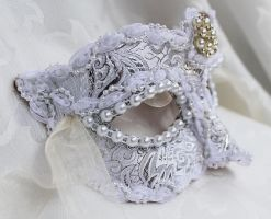Silver White Brocade and Leather Mask by DaraGallery