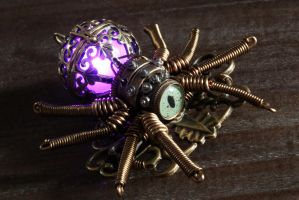 Steampunk glowing spider brooch - Purple by CatherinetteRings