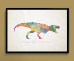 T-Rex watercolor print by ColourInk