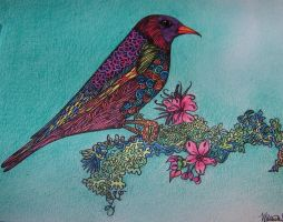 The Bird In My World-Colored Pencil by MiracleAdkinsArt