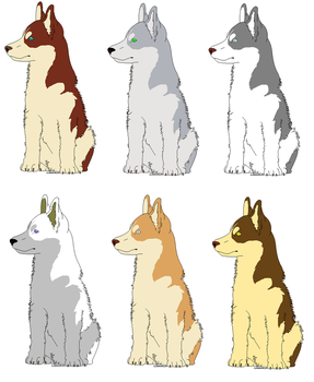 Husky/Wolf Adopts by snails1000