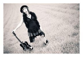 Girl with a black guitar 01 by Ciril