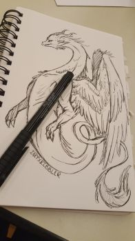 Dragon Sketch by InkyScribbler