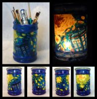 TARDIS painted glass jar/candle holder by VitriGeek