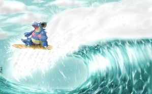 Nidoqueen is doing surf with a bikini by phantomcecco