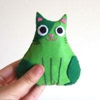 Lonely green fat cat plushie by yael360