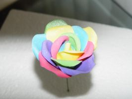 Rainbow Gumpaste Rose by stacylambert