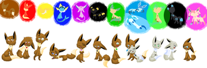 .:Eevee's:. with their reference~ by LunaticDemonLuny