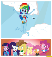 Rainbow Dash and parasprites Equestria Girls by CoNiKiBlaSu-fan