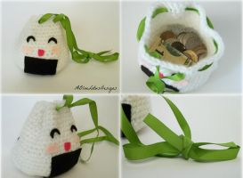 Rice Ball Drawstring Pouch by ABlueLotusDesigns