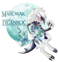 Alolan Marowak X Midnight Lycanroc  [Speed Paint] by Seoxys6