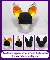 Black and Candy Corn ears Fennec Fox Hat by cutekick