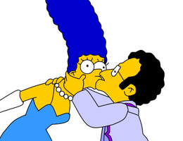 Marge kissing another man by LeeRoberts