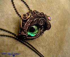 Prismatic Green - Bronze Dragon Eye Dewdrop by LadyPirotessa