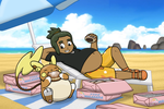 Pokemon Sun/Moon - Hau's Beach Binge by Mothman64