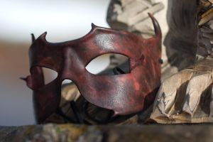Black and Red Leather Mask by OsborneArts