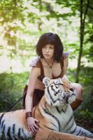 Amazon and real tiger by Jane-Po