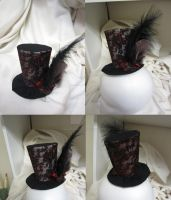 Black, red, and brown mini top hat by MelissaRTurner
