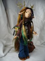 Sophie - Deer Child - OOAK art doll by mammalfeathers