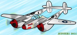 Lockheed P-38 Lightning Toon by Jetster1