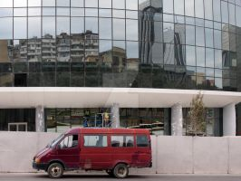 Van in front of Flame Towers by NiVosta