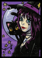 Witches Cat Kitty Dittie Card by tea-bug