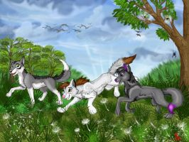 Happy three friends by Ketty-lioness