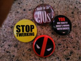 Even more Deadpool cosplay buttons by Deadfish-Comics